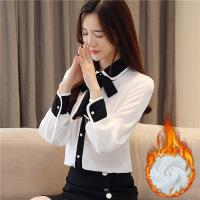 №【2019新款】冬天小姐姐穿的韩版气质淑女娃娃领蝴蝶结衬衫衬衣打底衫女