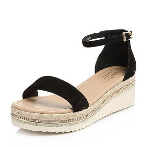 BASTO/百思图2018夏季专柜同款羊绒皮一字带坡跟女凉鞋RMX19BL8