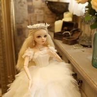 多丽丝凯蒂手工改妆婚纱洋娃娃BJD送女孩情人节玩具公主婚庆礼盒 60cm/现货当天发