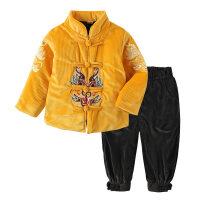 男女童唐装套装中国风冬款童装新款儿童复古刺绣汉服裤子两件套