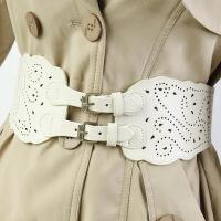 米色腰带女宽镂空松紧风衣装饰百搭米色外套针扣欧美时尚宽腰封