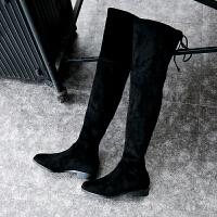 长靴女过膝靴2018秋冬季长筒靴子女平底新款高筒女靴瘦瘦靴弹力靴