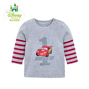 迪士尼Disney春季童装男童拼接长袖上衣宝宝纯棉圆领百搭T恤161S754