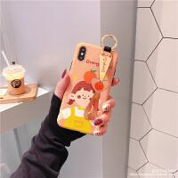 橘子腕带支架iPhone xsmax手机壳8p苹果x防摔xr套7plus女款6s情侣 XR 腕带橘子女孩