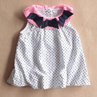 女童宝宝裙子夏季纯棉白色波点连衣裙 新生儿圆点背心裙