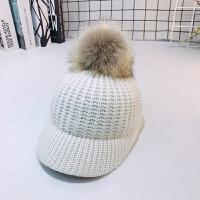 秋季儿童大毛球鸭舌帽亲子男女童针织毛线帽韩版潮宝宝保暖帽冬天 均码