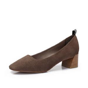 Camel/骆驼女鞋 秋季新品 时尚优雅羊�S方头粗跟通勤单鞋女