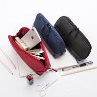 纯色良品简约笔袋帆布初中学生小清新铅笔盒男女韩国大容量文具袋