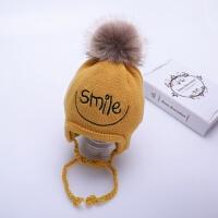 宝宝帽子冬季加绒婴儿毛线帽6个月-2岁1男童女童潮针织儿童护耳帽 黄色 酷sm三条护耳 均码