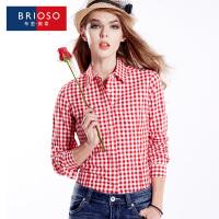 BRIOSO 女士格子衬衫全棉磨毛女装衬衣秋装新款 韩版修身棋盘格长袖衬衫 大码  WE18995