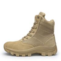 秋秋季透气真皮作战靴户外登山鞋男战术靴军迷沙漠靴 沙色
