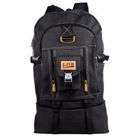 韩版超大容量双肩帆布包 电脑包 旅行背包男女潮包80L大号登山包 黑色