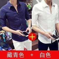 男士短袖衬衫韩版夏季五分袖纯色衬衣青少年发型师修身潮男休闲潮