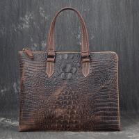新款时尚男士手提包女士鳄鱼纹横款文件包百搭包 复古棕