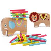 儿童玩具动物平衡叠叠高层层叠叠乐积木长方形木条垒堆高高