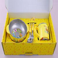 儿童餐具带盖宝露露不锈钢套装防摔保温宝宝碗勺叉四件套