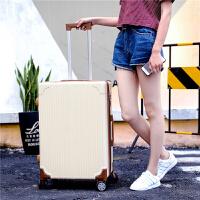 韩版行李箱女小清新拉杆箱万向轮20寸学生个性皮箱可爱欧美旅行箱 米白色 单箱