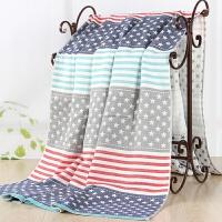 纯棉纱布夏凉被空调被盖毯 单双人彩条星星毛巾毯