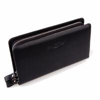 男士手拿包 手包手抓包长款钱包放手机啡色男士钱包长款钱包 黑色HF622-6