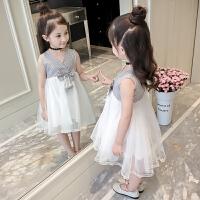 儿童公主裙2018新款夏装女童连衣裙夏季童装韩版潮洋气小女孩裙子0665 白色