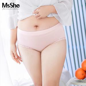 MsShe加大码新款中腰弹力人棉三角裤内裤M1730527