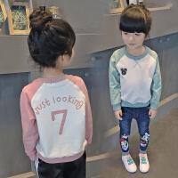 春季新款童装卫衣女童长袖t恤儿童宽松上衣中大童插肩袖韩版
