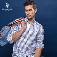 U.S. POLO ASSN.长袖休闲绅士衬衫男士修身纯棉格子衬衫2018春季新款
