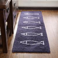 家用厨房地垫创意小鱼长条地毯门垫进门蹭脚垫卫浴吸水防滑垫