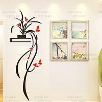 3d立体亚克力墙贴画客厅卧室玄关背景墙上装饰画房间室内装饰品画 正向 红蝴蝶+黑叶