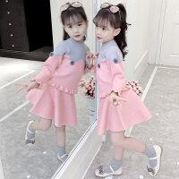 女童毛衣裙子套装2018新款秋冬装小女孩连衣裙两件套儿童洋气套裙