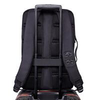 多功能双肩包男士商务休闲旅行出差5.6寸手提电脑背包大容量 商务黑