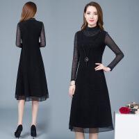 长袖连衣裙女中长款2019春季新款修身显瘦遮肚子洋气拼接网纱长裙 黑色