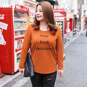 MsShe大码女装2017新款秋装休闲百搭字母图案棉t恤M1730312