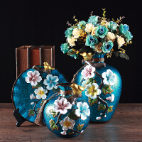 美式田园家具装饰品特色手工捏制花鸟花瓶客厅酒柜花插陶瓷摆件