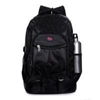 男士双肩包男背包女韩版潮高中学生书包休闲电脑包登山旅行包 黑色 纯黑色