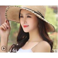 新品拉菲草帽小清新韩版百搭遮阳帽潮女度假大沿沙滩帽