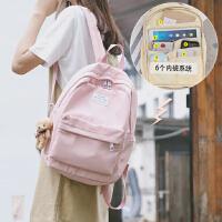 MUSI大容量日系背包少女心大学生书包纯色旅游包小清新帆布双肩包