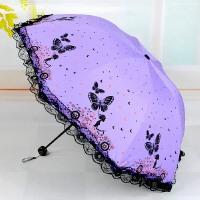 雨伞折叠蕾丝花边遮阳伞黑胶防晒防紫外线太阳伞女小清新女士伞