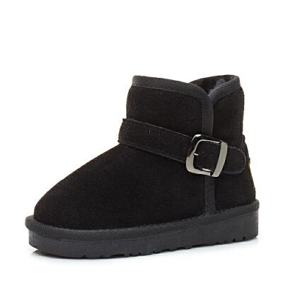冬季儿童雪地靴男童2018新款防水加绒加厚棉鞋女童宝宝雪地棉srr 5859黑色 5859 女鞋