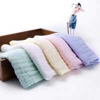 婴儿口水巾宝宝喂奶巾新生儿用品棉纱布洗脸小毛巾方巾手绢手帕 5条(白绿黄粉蓝)