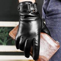 №【2019新款】冬天带的真皮手套男士皮手套骑行摩托车开车薄款加绒触屏羊皮手套