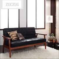 ZUCZUG日式简约实木扶手布艺沙发北欧复古单人双人三人咖啡厅客厅沙发椅