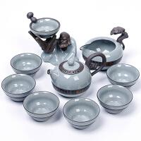 陶瓷哥窑茶具套装 家用整套功夫茶具茶道茶壶茶杯礼盒装