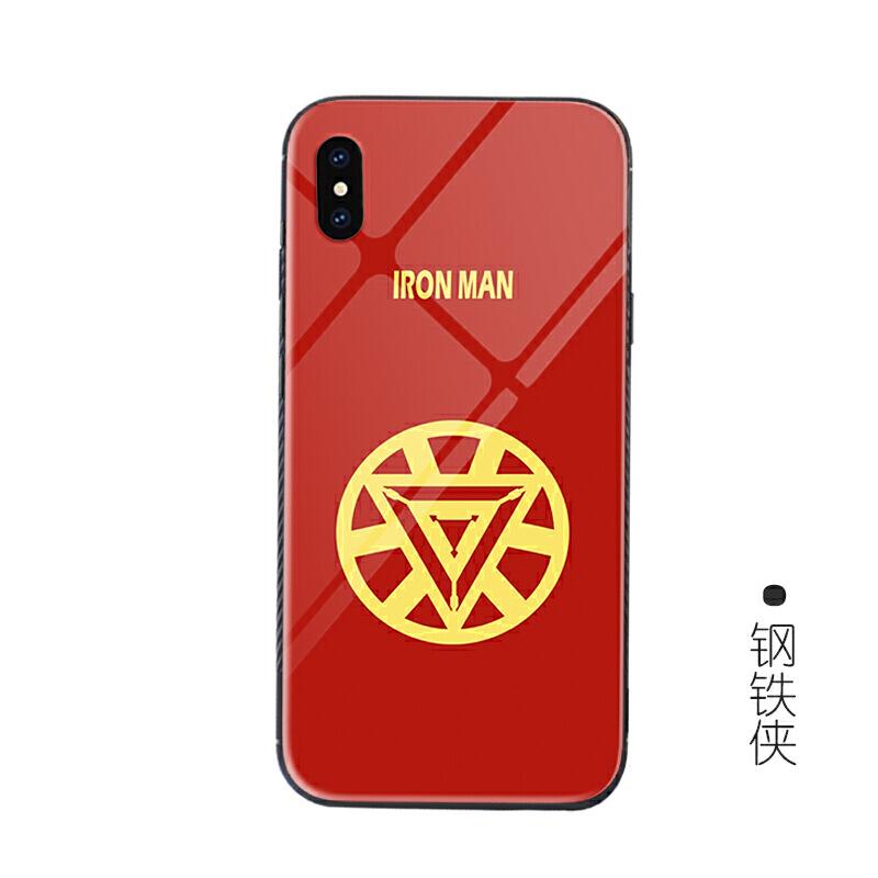 漫威复仇者钢铁侠钢化玻璃iPhone X手机壳美队6苹果7/8plus保护套 iPhone X【钢铁侠】