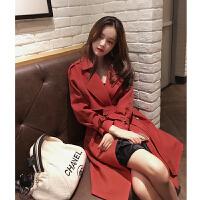 风衣女中长款春装2018新款韩版宽松过膝大衣小个子外套女秋潮 铁锈红