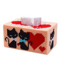 家居3D十字绣套件立体绣毛线绣纸巾盒抽纸盒求爱猫DIY手工爱情情侣猫 图片色