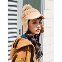 毛球羊羔绒骑士帽子女冬天飞行帽护耳帽子保暖鸭舌帽雷锋帽