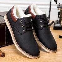 男士冬季加绒保暖男鞋防水皮面棉鞋青年潮流二棉板鞋加厚雪地靴子