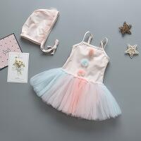 儿童泳衣女童连体软纱裙式公主宝宝婴幼儿女孩泳装配泳帽一件 88055(配帽)