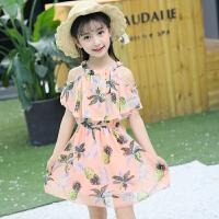 童装女童吊带连衣裙夏装2018新款韩版小女孩洋气儿童雪纺公主裙子 雪纺裙 菠萝 粉色